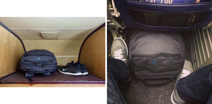 The Quick Access Zips of the Minaal Carry-on As It Fits In the Overhead Bin and Under Your Seat – Instagram Collage