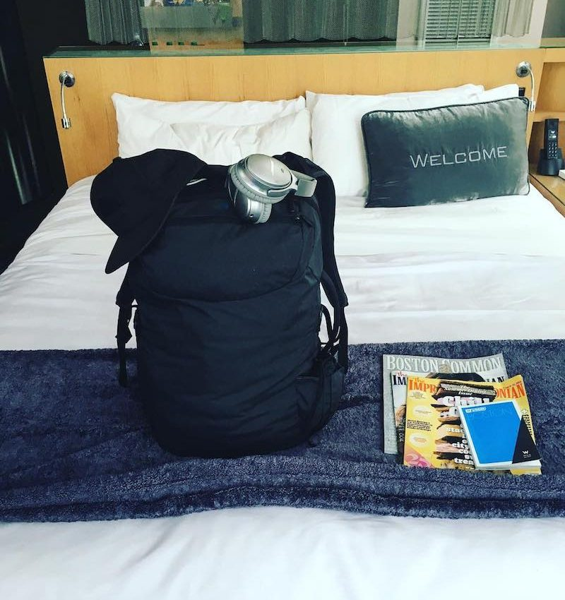 How to sleep on a plane – Kristen L Kish in Boston with her Minaal Carry-on and QC35 Headphones