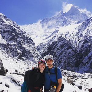 Jeremy Kimmel and Jeanette Mellinger trekking in Nepal with her Minaal Carry-on