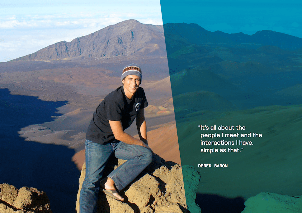 Digital Nomad Derek Baron at the top of a mountain