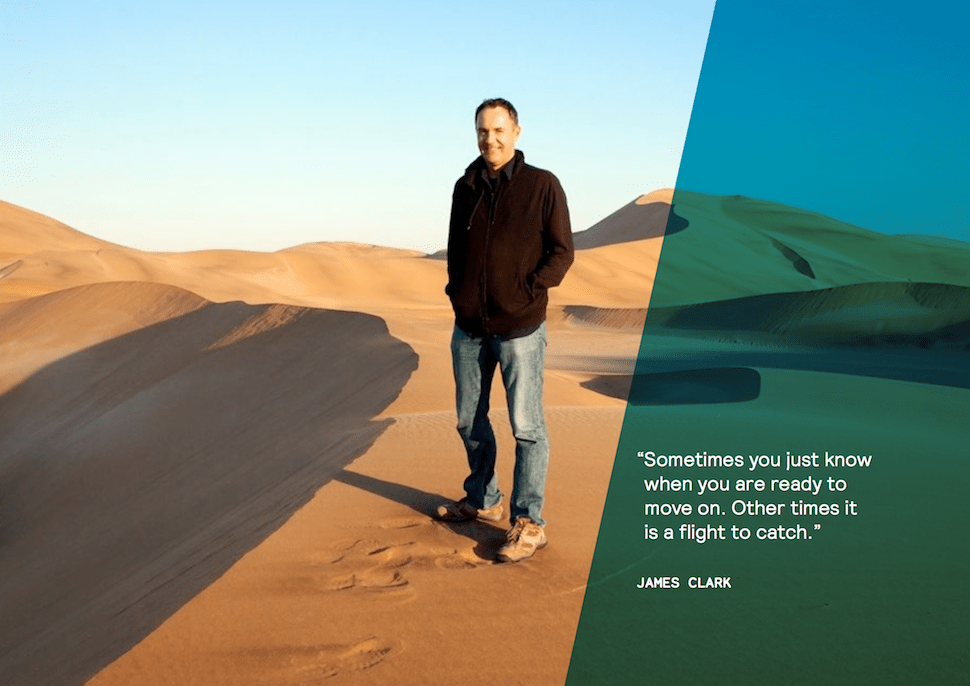 Digital Nomad James Clark on sand dunes in the Sahara