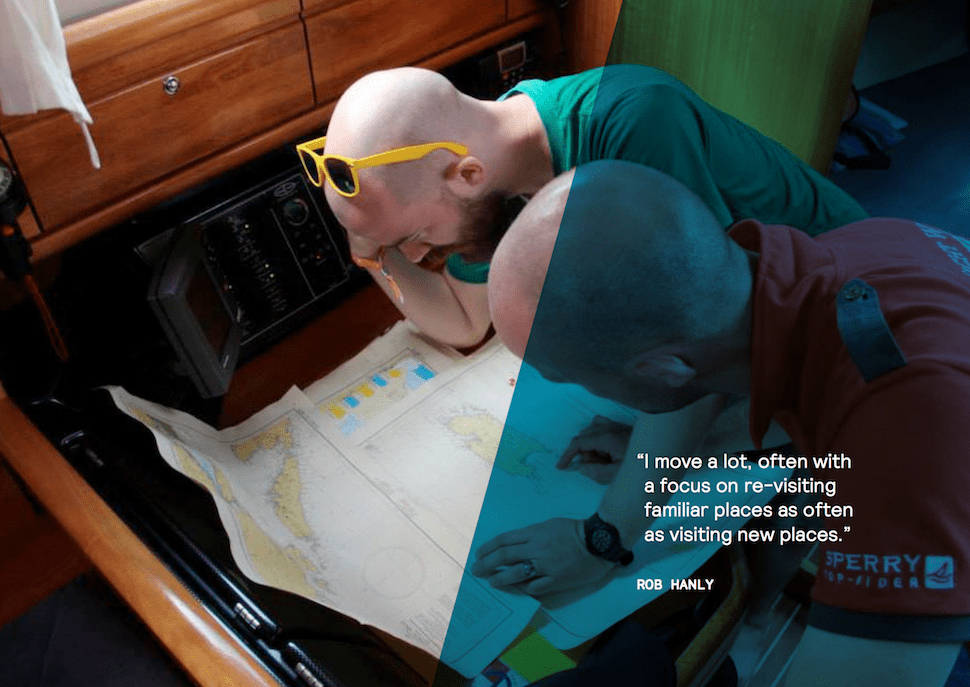 Digital Nomad Rob Hanly poring over maps