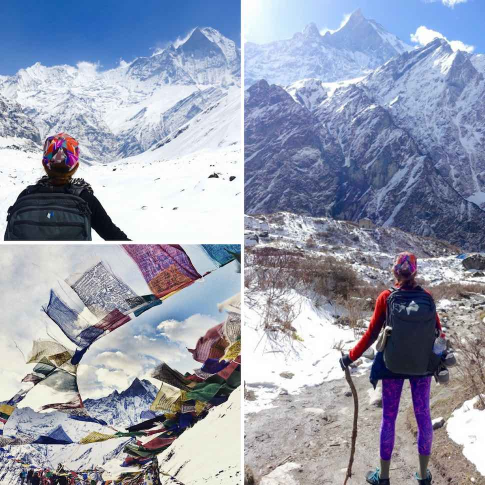 Jeanette trekking in the Himalayas with her Minaal Carry-on hiking backpack.